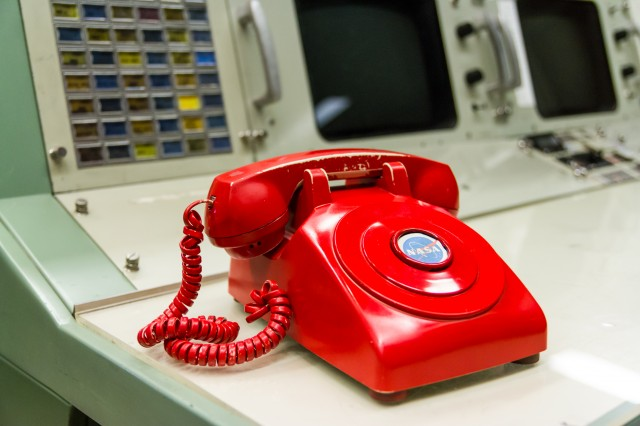 The red telephone which currently adorns the Department of Defense console.
