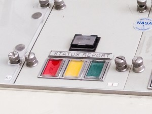 A status report panel, which controllers used to inform the Flight Director of various things.