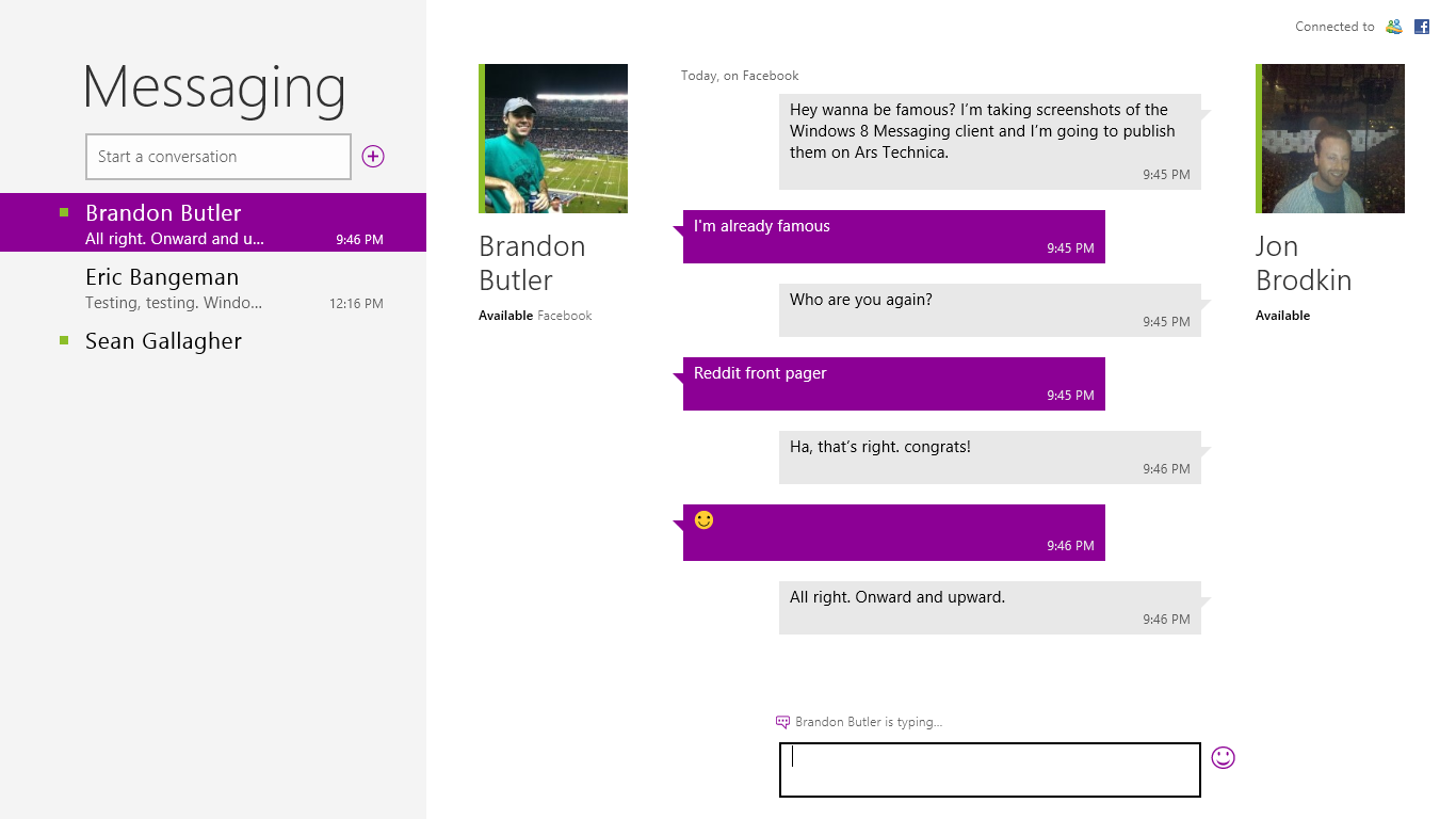 What Windows 8 Messaging looks like when it's working properly.