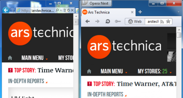 However, only Internet Explorer renders text sharply using Windows 7's 200 percent scaling mode. IE9 is on the left and Opera 12.10 is on the right.