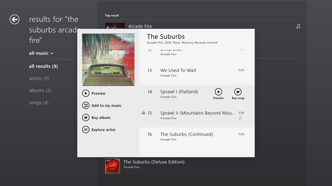 This album offers me only 30 second previews, in spite of my Xbox Music Pass.