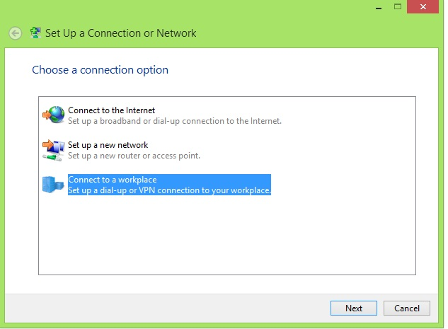 """Legacy"" VPN connections to RRAS and other VPN services are supported in Windows 8 as well, and configured through the Network and Sharing Center in Windows 8's Control Panel. After clicking ""Set Up a Connection or Network,"" you can set up a VPN by selecting ""Connect to a workplace."""