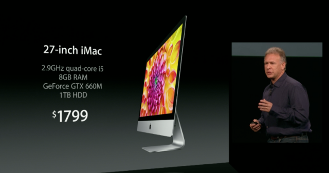 The 27-inch iMac standard features and price.