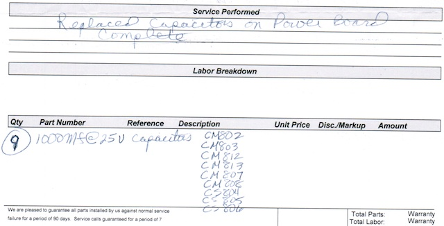 Part of my receipt, showing the nine 25V capacitors used to replace the bad ones.