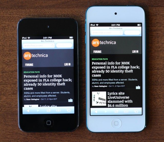 Contrast in particular is much better on the new iPod touch than on the old one—behold the darker blacks and less-bluish grays.