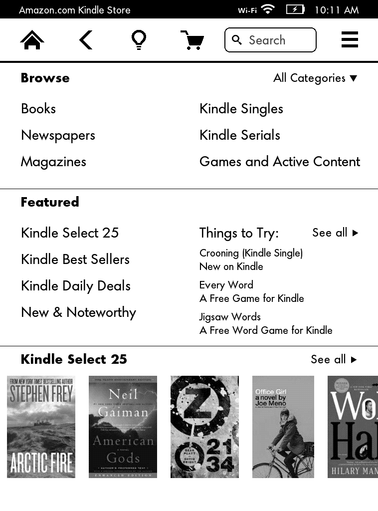 A screenshot of the Kindle Paperwhite's Amazon's storefront.