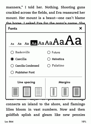 You can read the sharp text of the Paperwhite in a variety of fonts.