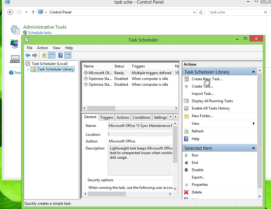 "Click on Task Scheduler Library in the left panel, then on ""Create Basic Task"" under ""Actions"" in the right-side panel."