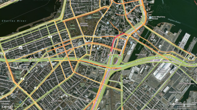 Aerial view, with color-coded traffic info.