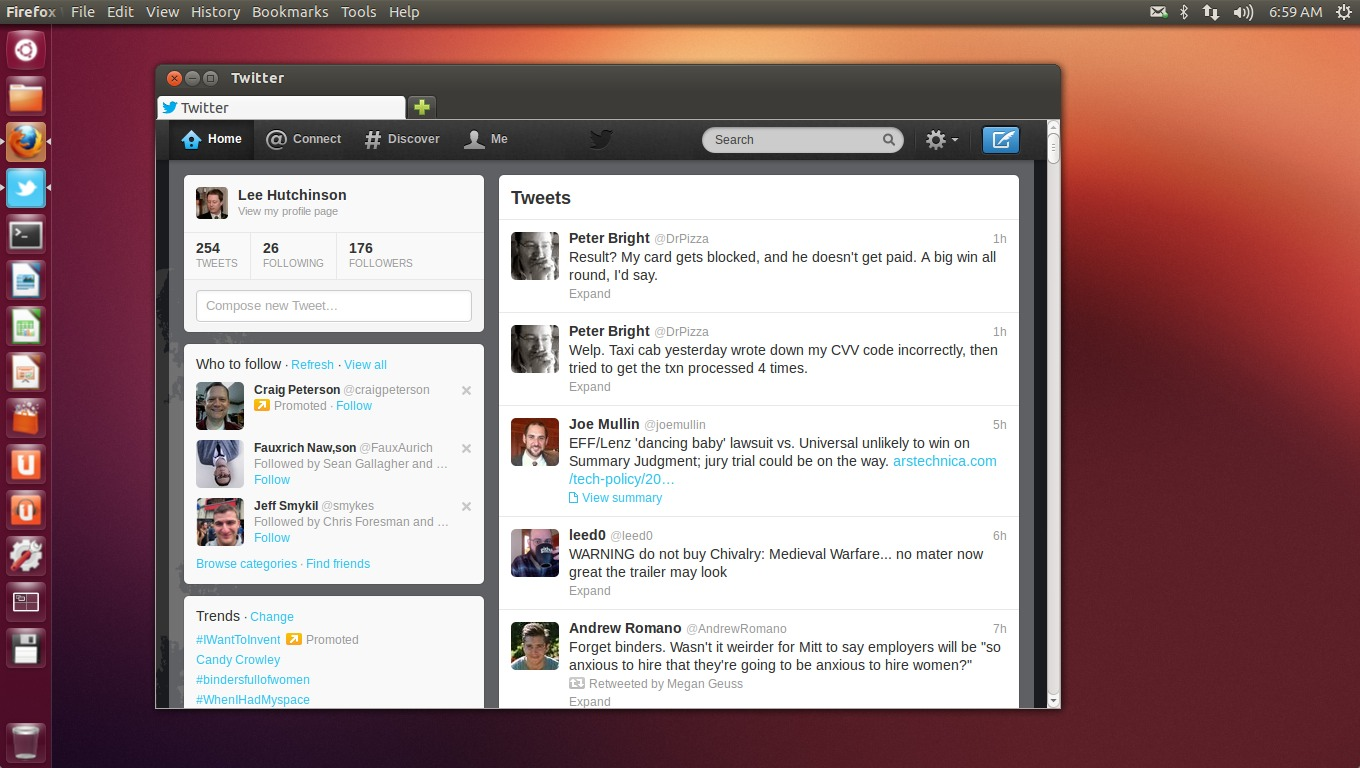 Enlarge  Twitter as a Unity  Ubuntu