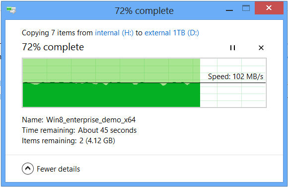 When copying to a drive without Storage Spaces enabled, speeds are consistently just above 100MB/s.