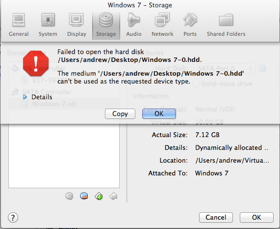 ...but I had trouble importing one from my Parallels installation.