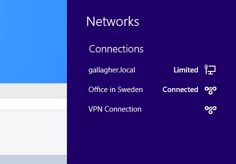 Once configured, you can launch VPN connections by clicking on the network icon in the Desktop's system tray or from the Settings charm within Metro apps. When connected to a VPN, Windows 8 routes all traffic over it by default.