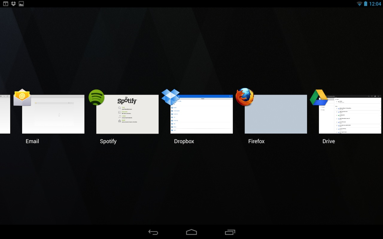 The new application switcher now takes up the entire screen, as it does on phones and 7-inch tablets.