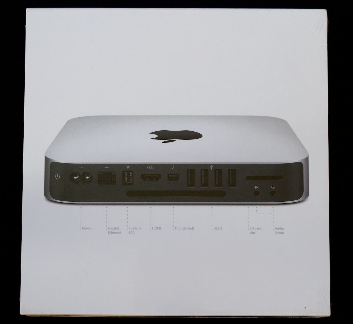 The Mac mini box, back, with ports called out.