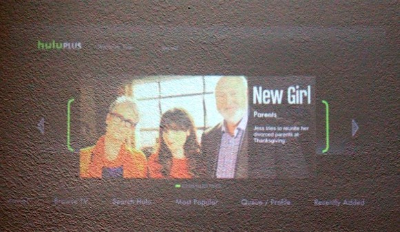 The projector under a skylight is even worse—the picture looks so faded, we could barely make out Zooey Deschanel.