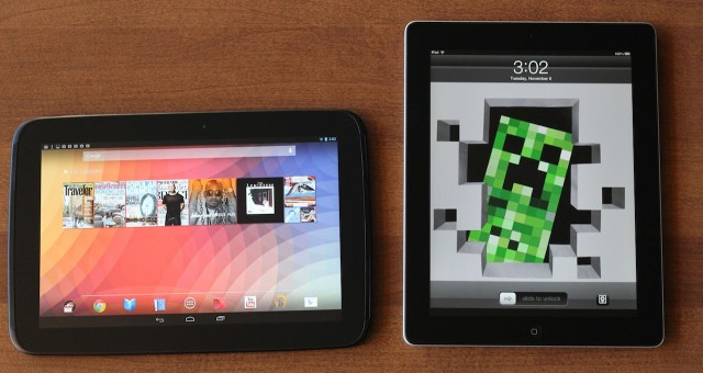 The Nexus 10 and the Retina iPads both have gorgeous screens. The Nexus 10 has a slightly better pixel density, while the iPad has slightly better color and viewing angles.
