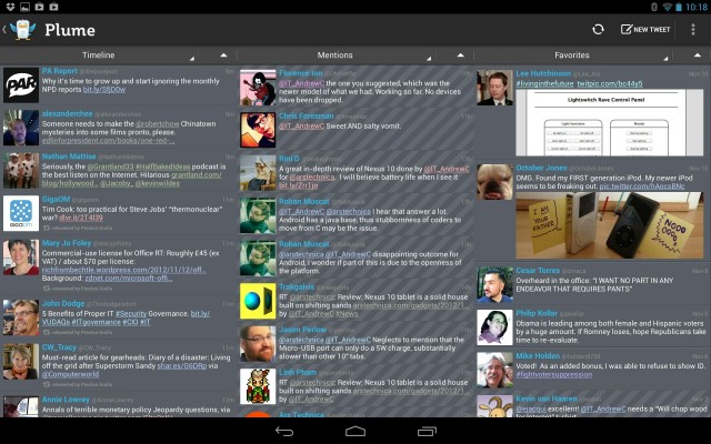 Plume for Android is a little dense, but it can show a lot of data at once.