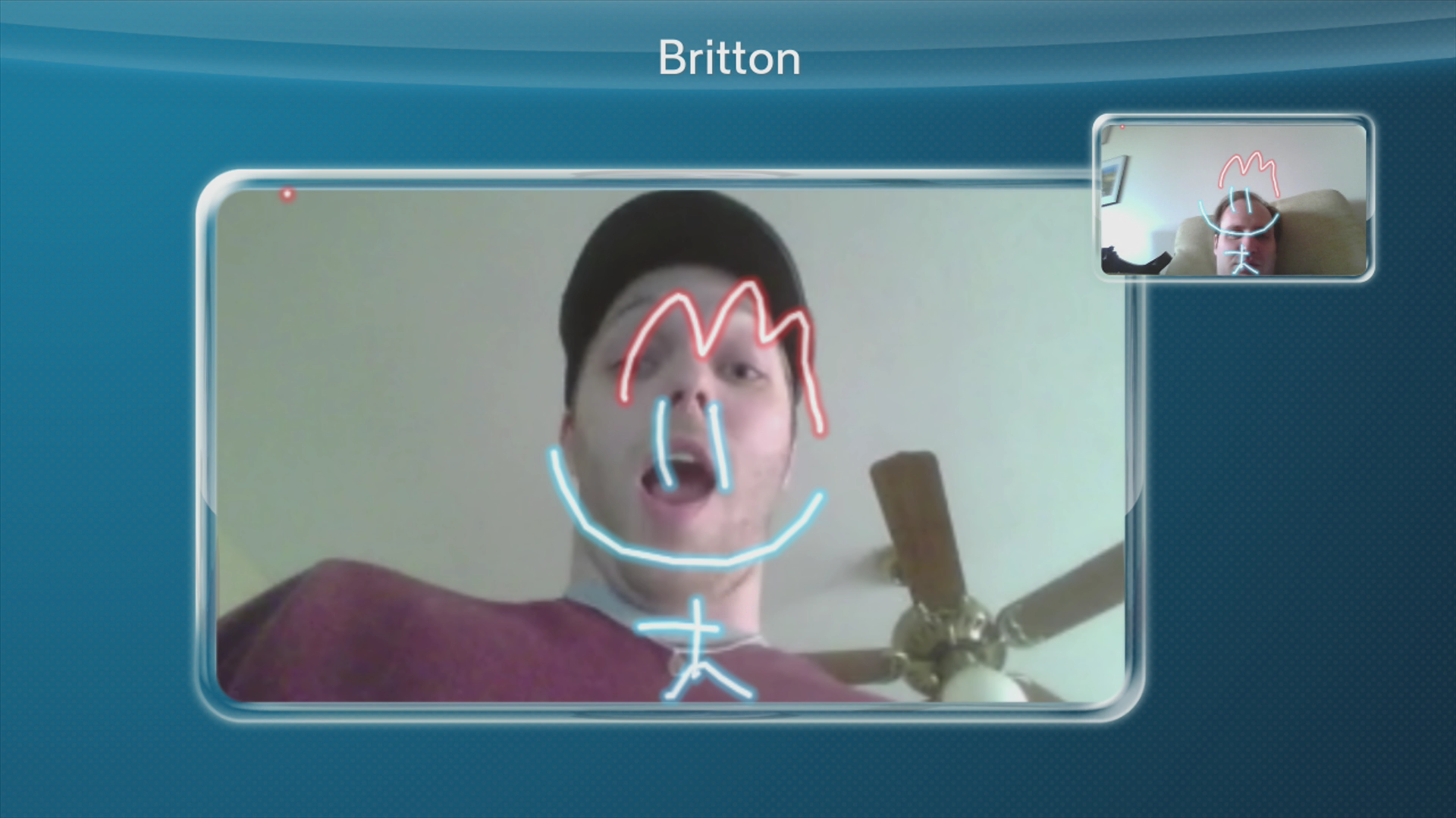 I drew a funny face on fellow game journalist Britton Peele. Lulz.