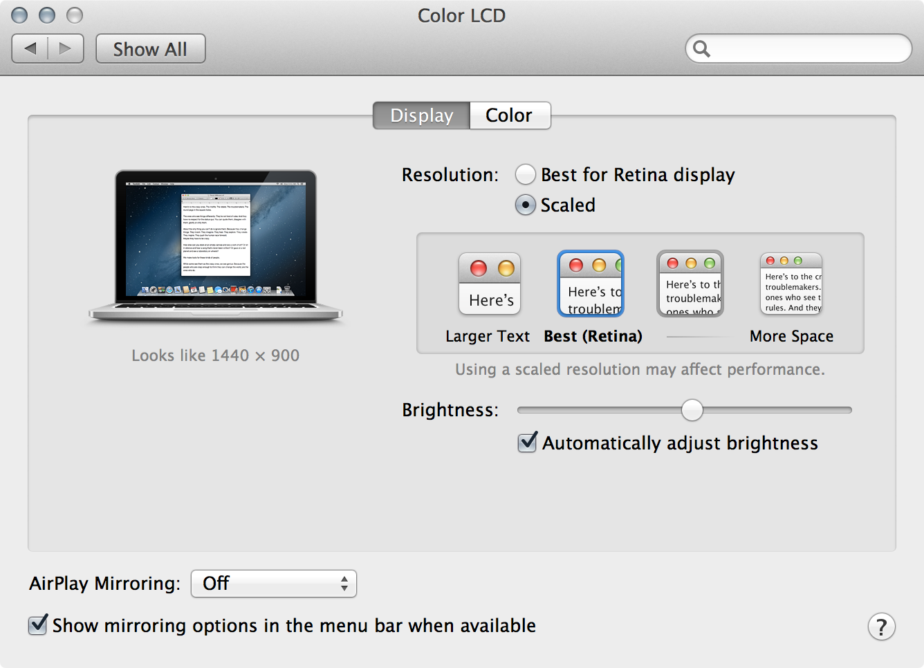 "The 13"" Retina MacBook Pro offers four different resolution settings, including ""Larger Text"" and ""More Space."""