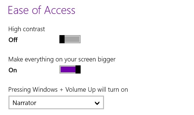 "Scaling for the Start screen is handled separately from desktop scaling, so you need to go into Ease of Access the settings and toggle the ""make everything on your screen bigger"" switch."