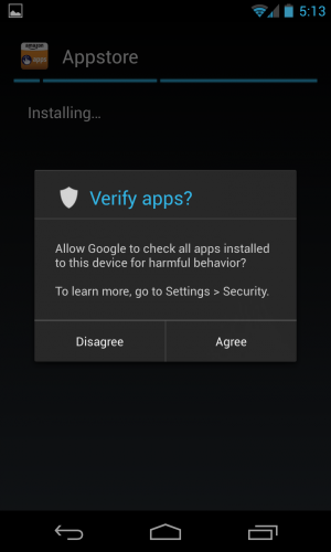 This warning pops up when the user downloads a side-loaded application.