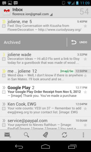 The Gmail app's new tweaks include the ability to instantly archive a message by swiping.
