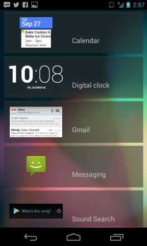 The lock screen widgets available in Android 4.2.