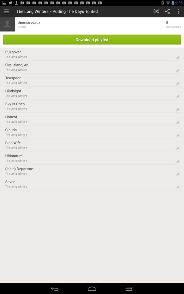 Spotify for Android also wastes a ton of space on a tablet's screen.