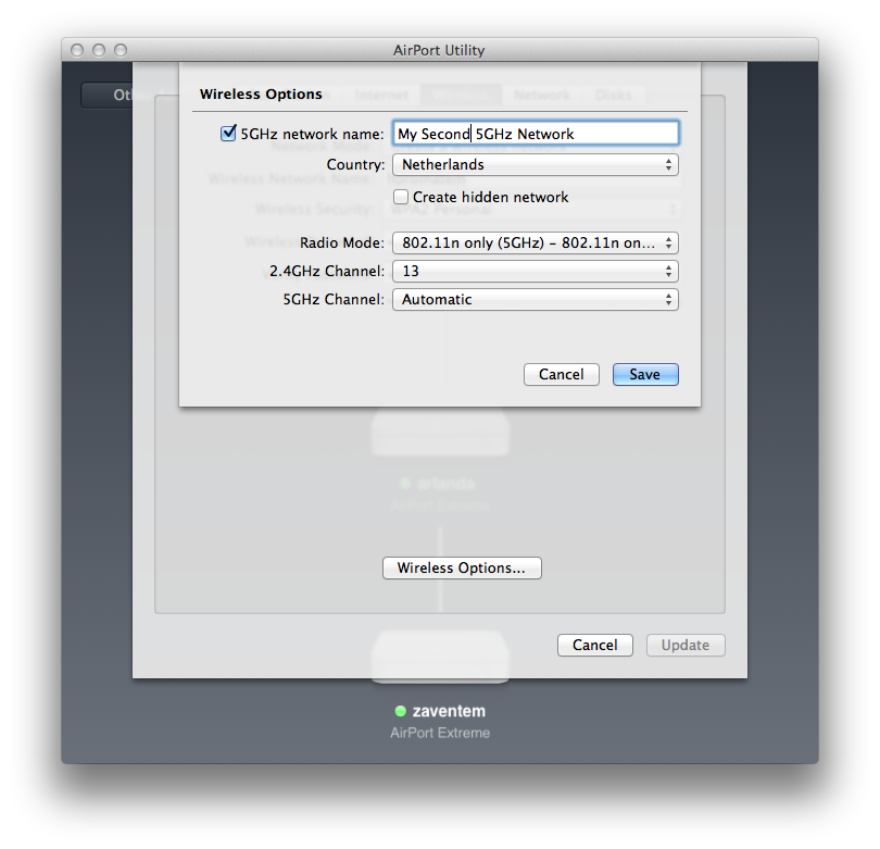 Setting up a separate 5GHz network in the OS X Airport Utility