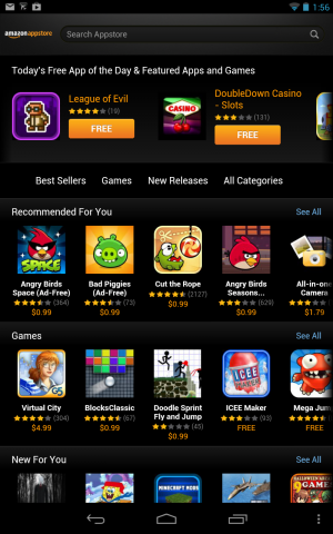Amazon Appstore on the Nexus 7.