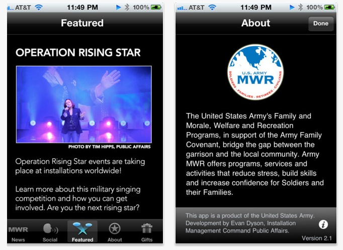 Screen shots from the U.S. Army's Morale, Welfare and Recreation Programs app for iOS, one of nine Army apps in Apple's iOS App Store.