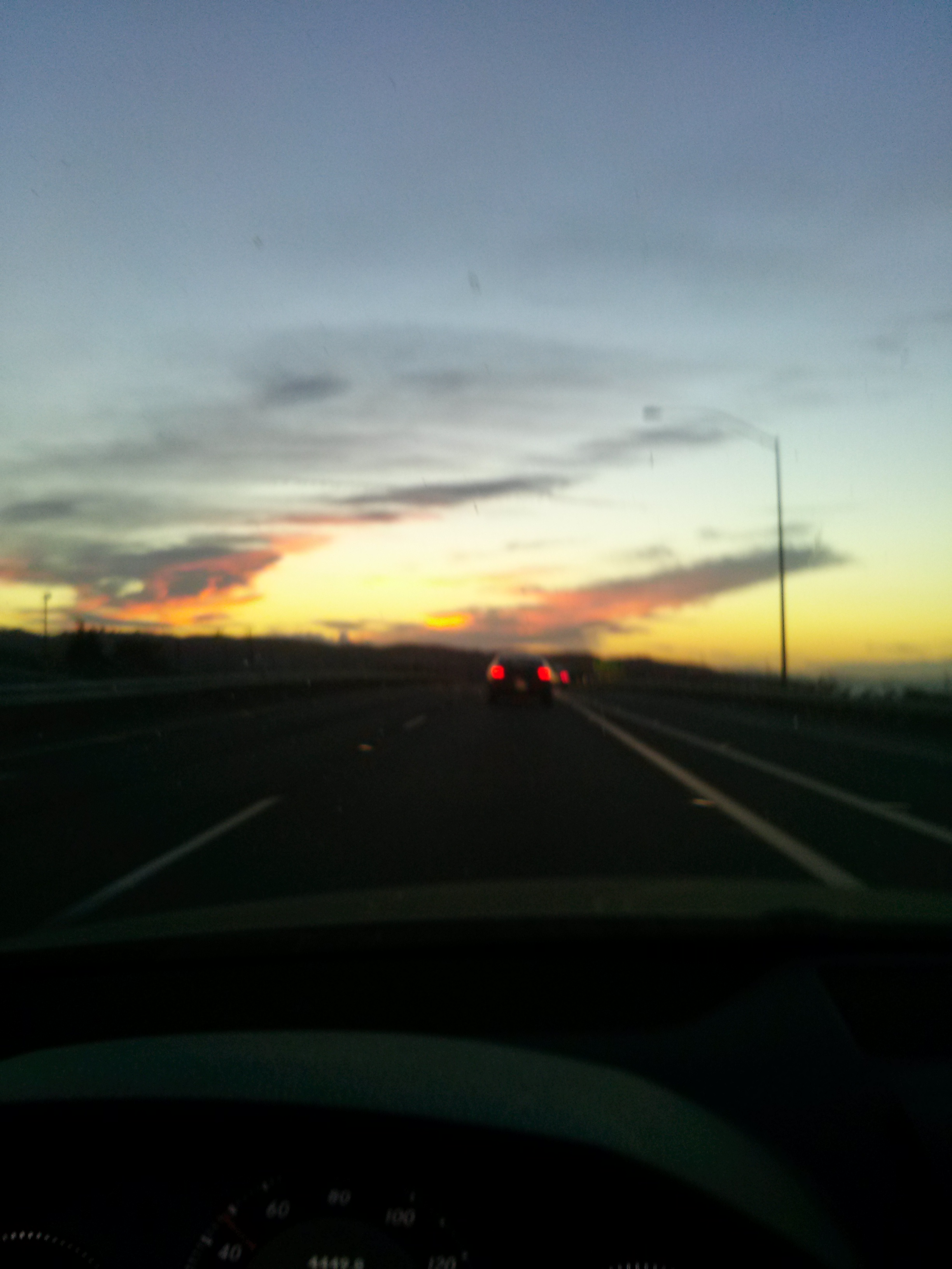 A blurry, but gorgeous, California sunset.