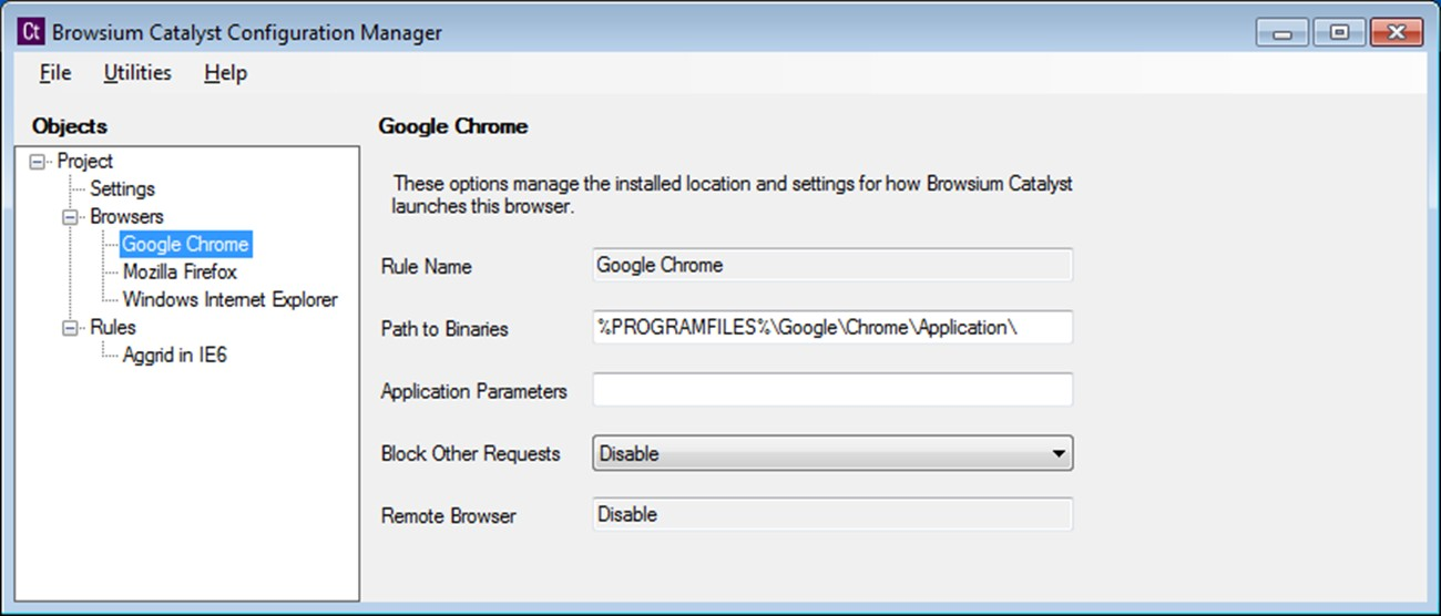 The simple Catalyst configuration manager allows you to configure rules for Internet Explorer, Firefox, and Chrome.