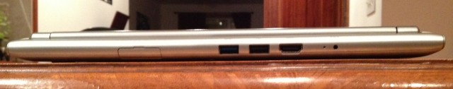 The Chromebook's ports: USB 3.0, USB 2.0, HDMI, and power. A USB Ethernet dongle is also included.
