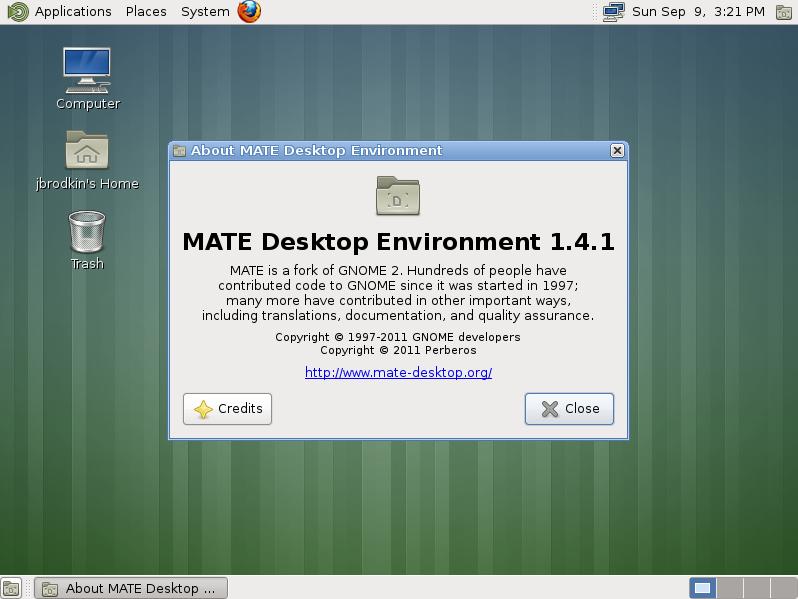 MATE desktop on Fedora 17.