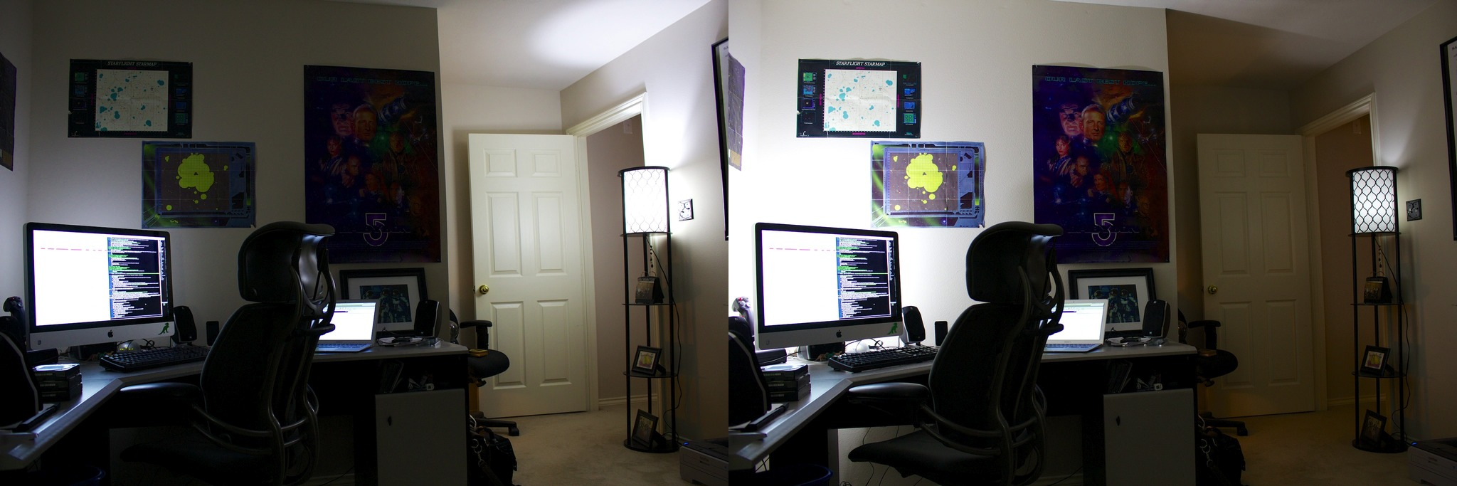 On the left, the light behind the computer is at its dimmest and the door light is at max; at right, it's the opposite, with the computer light at max and the door light dim.