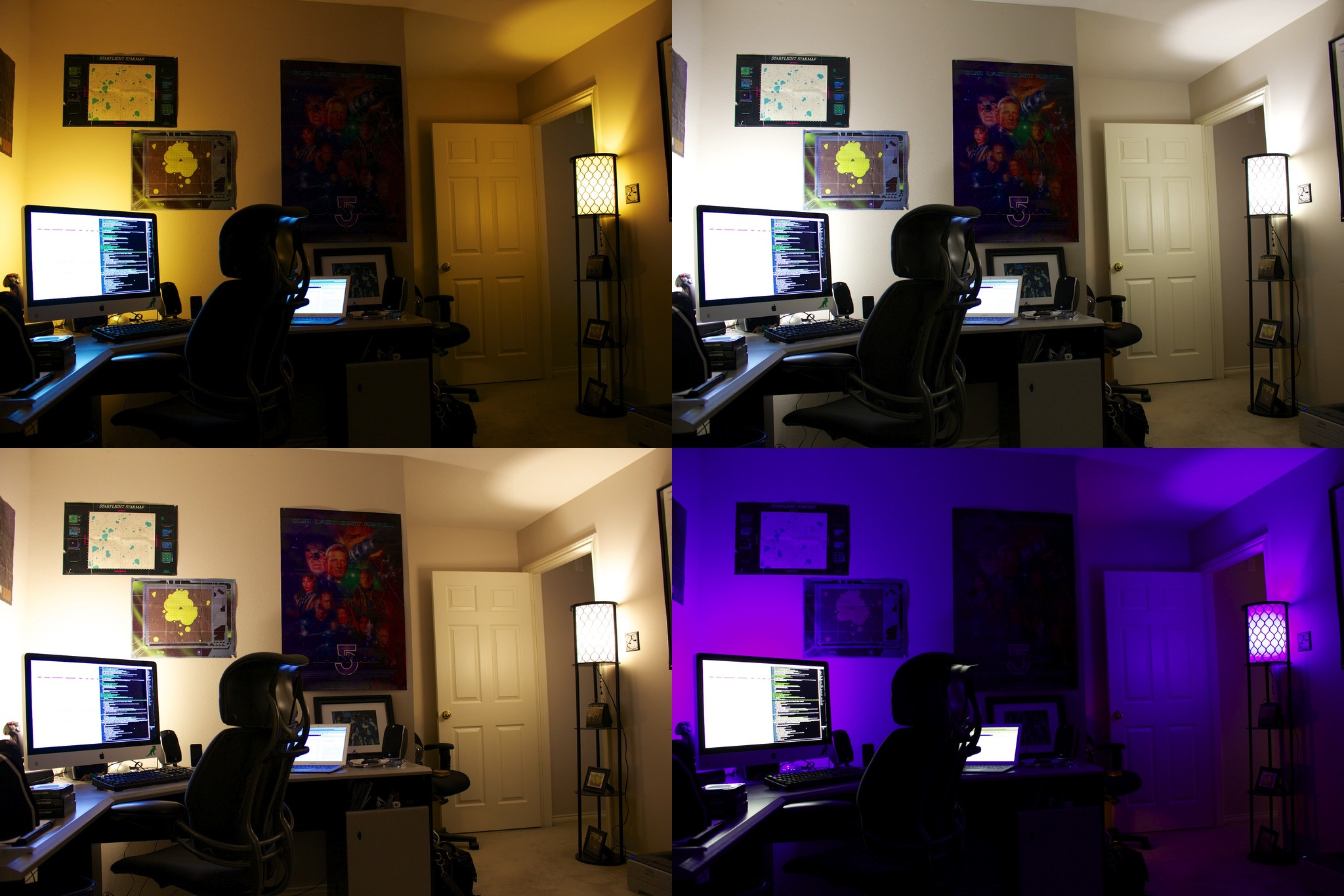 The author's office. Morning at top left, day at top right, evening at lower left, and night at bottom right.