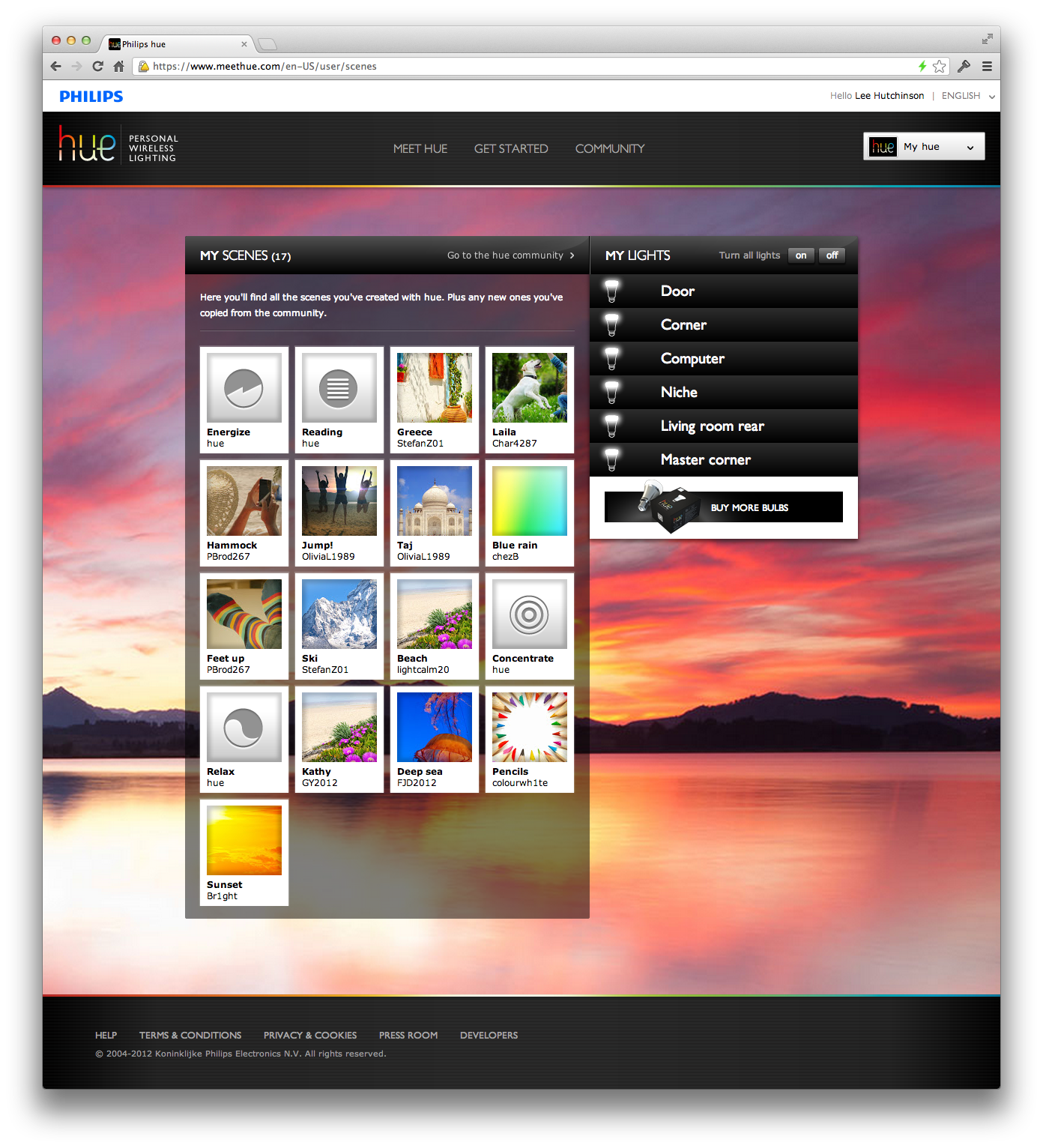 The Hue Web portal's front page, showing my installed scenes and bulbs.