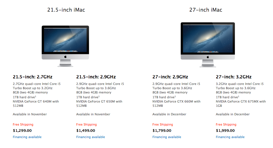 Base pricing for the new iMacs.