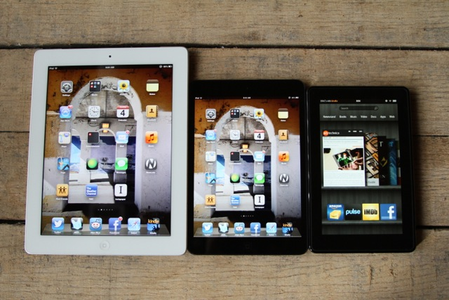 Left to right: Third-gen iPad, iPad mini, Kindle Fire