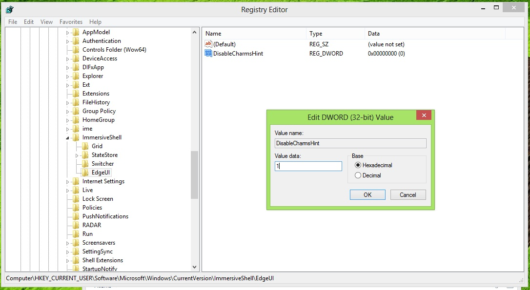 "Change the ""value data"" for the new DWORD to 1. Click OK, then exit from Registry Editor."