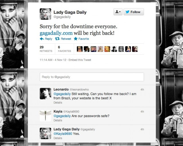 Gaga Daily's tweet to users regarding the defacement.