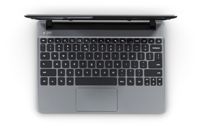 The new Chromebook's chiclet keyboard.