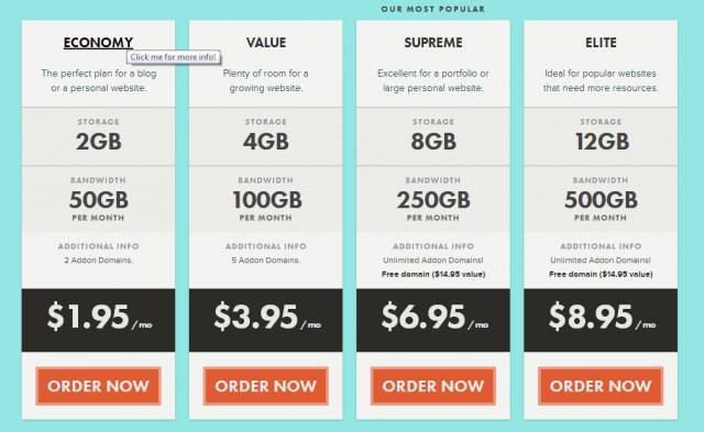 A snippet from LithiumHosting.com, showing its current shared hosting prices. You <em>could</em> do this, but wouldn't it be more fun to host your own stuff? Of course it would!