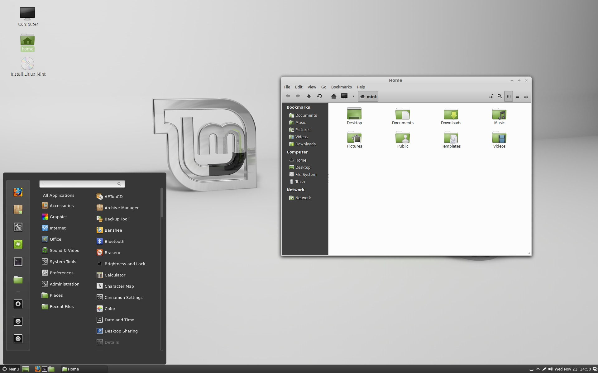 Linux Mint's other shell, Cinnamon.