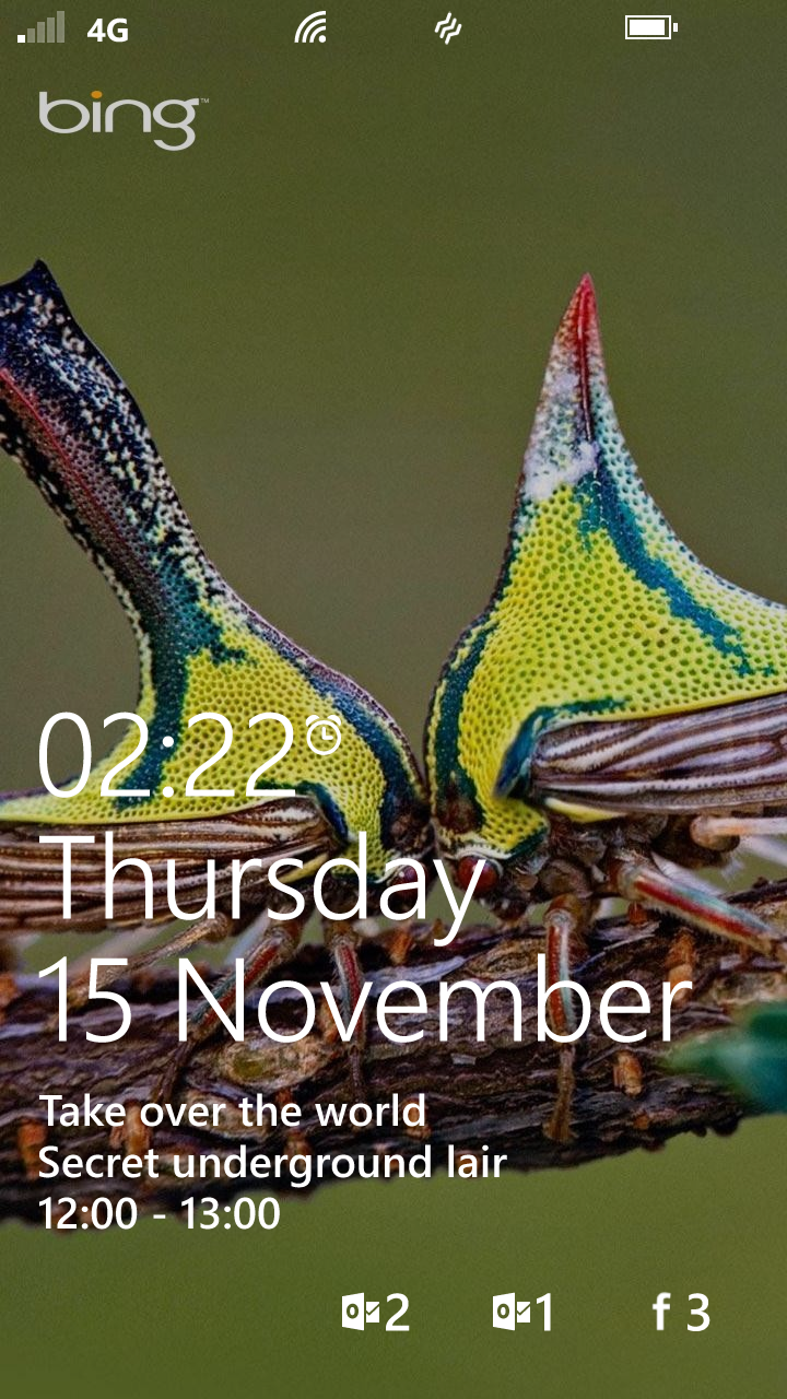 Bing sets my lock screen picture. Facebook has its counter at the bottom.