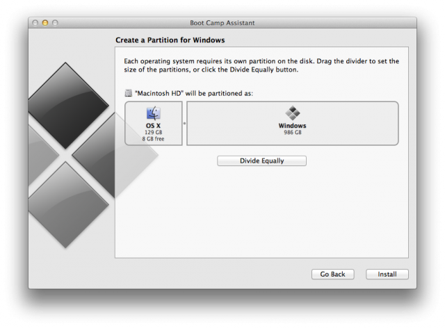 When creating a Boot Camp partition, you can't leave OS X with a partition smaller than the SSD plus a small amount of HDD space.