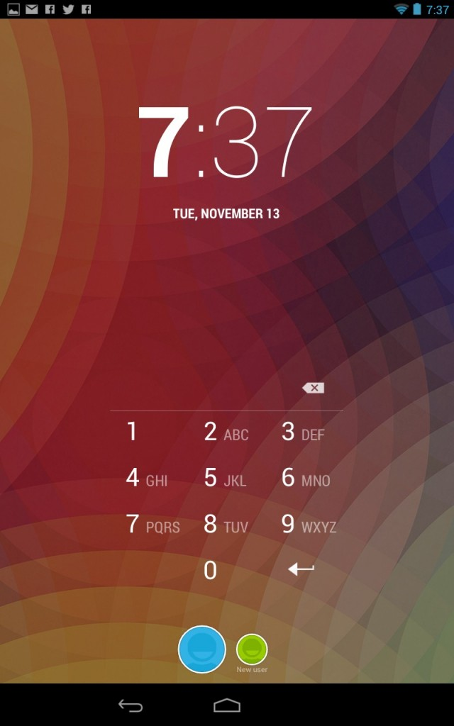 Switching accounts is done by tapping the round buttons at the bottom of the lock screen.