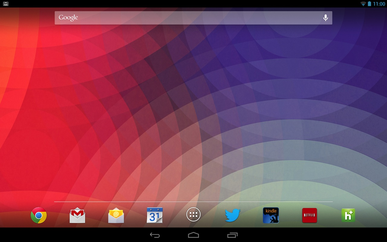 Android 4.2 introduces a new, more phone-like 10-inch tablet user interface, seen here on the Nexus 10.